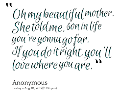 My Beautiful Son Quotes Best of Quotes About Mother Son 24 Quotes