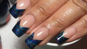Try This Gorgeous Chevron French Tip Water Marble Nail Design!
