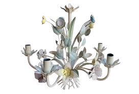 vintage italian tole chandelier in pastel