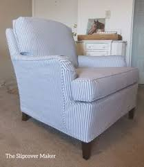 blue white ticking stripe slipcover gives an old drexel chair an instant update furniture