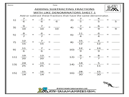 Math Worksheets 6th Grade Fractions Printable By Level And Skill ...