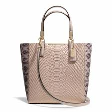 Coach    MADISON MINI NORTH SOUTH BONDED TOTE IN PYTHON EMBOSSED LEATHER