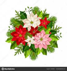 Vektor Weihnachtsstrauß Mit Roten Rosa Und Weißen