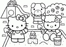 Hello Kitty Spelen In De Zandbak Kleurplaten