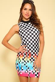 <b>Sexy Checker</b> Rainbow <b>Printed</b> High Neck Bodycon Casual Dress