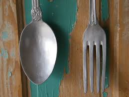 wall art oversize fork and spoon chrome silver painted large kitchen restaurant decor chef cook ornate on kitchen fork knife spoon wall art french painting with wall art oversize fork and spoon chrome silver painted large