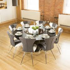 luxury large round black oak dining table lazy susan 8 chairs 4173 b w