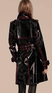patent vinyl trench coat