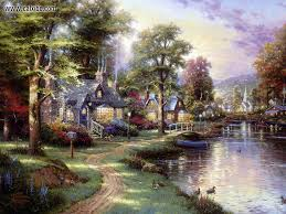 Along The Lighted Path Drawing Painting Thomas Kinkade Along The Lighted Path