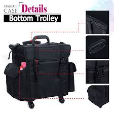 voilamart rolling makeup case trolley 2 in 1 travel cosmetic train cases on wheels nylon black bags for professional make up artist cosmetics storage