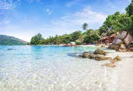 Panorama Of Asian Paradise Beach In Thailand Stock Photo, Picture And  Royalty Free Image. Image 115457701.