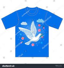 Dove Design T Shirts Soaring Dove Flower Clouds Tshirt Design Stock Vector