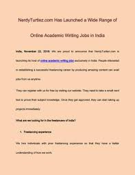 nerdyturtlez com has launched a wide range of online academic  nerdyturtlez com has launched a wide range of online academic writing jobs in