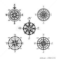 Marine Or Nautical Compass Navigation Vector Iconsのイラスト素材