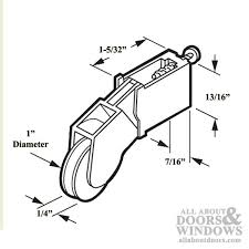roller assembly with 1 inch nylon wheel and adjustment for sliding screen door