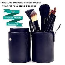 cosmetics brush cup holder leather makeup holder case large black