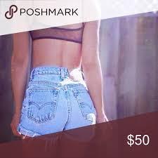 Levi High Waisted Shorts Size Chart Levis 501 Vintage High Waisted Jean Denim Shorts Tag Size