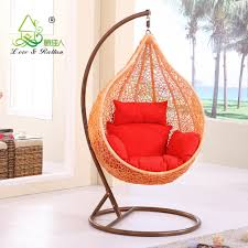 Furniture:Modern Hanging Chair With Egg Style Completed By Red Pillow Modern  Hanging Chair With