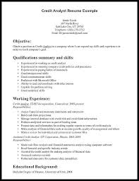 Credit Analyst Resume Example Sample Credit Analyst Resume Entry Level Analyst Credit Analyst