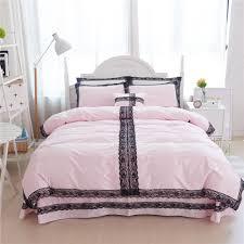 korean style black lace solid color design duvet cover bed sheet set 100 cotton princess