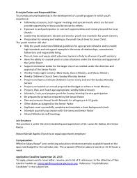 Youth Minister Resume Sample Resume For Youth Ministry Danayaus 5
