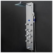 akdy 52 tempered glass wall mount multi function shower panel tower system 0