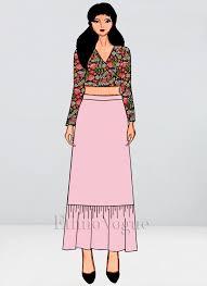 Skirt N Top Designs Custom Made Multicolor Crop Top N Skirt Set