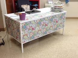 desk at school wrapping paper white duct tape white contact paper a whole new atmosphere for my room goodbye brown laminate and metal desk