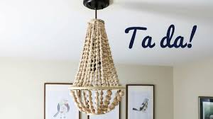 diy chandelier made with wood beads