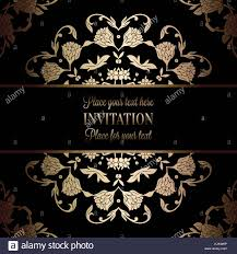 Baroque Wedding Invitations Vintage Baroque Wedding Invitation Template With Damask Background