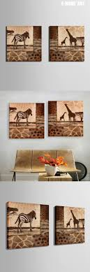 E-HOME Oil Painting Zebra And Giraffe Decoration Painting Set of 2 Home  Decor On Canvas Modern Wall Print