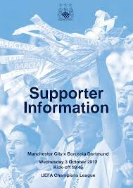 Manchester City v Borussia Dortmund Wednesday 3 October 2012 Kick-off 19:45  UEFA Champions League