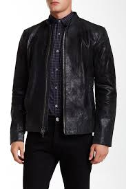image of john varvatos star usa classic genuine leather racer jacket