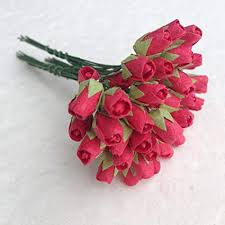 Rose Paper Flower Making 100 Mini Red Rose Bud Mulberry Paper Flowers Wedding Scrapbook Card Making