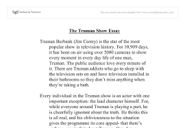 the truman show essays the truman show essay university media  the truman show essay university media studies marked by document image preview
