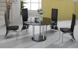 lazy susan round black glass dining table and 4 black faux chairs set