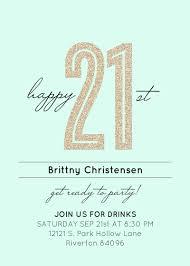 21 birthday invitation template invitations pink gold twenty first 21st templates australia