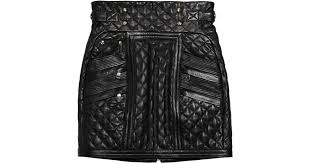Lyst - Balmain Quilted Leather Mini Skirt in Black &  Adamdwight.com