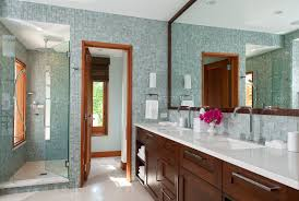 denver sea glass tile with contemporary shower doors bathroom and wall wood trim