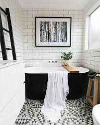 9 Gorgeously Graphic Bathrooms, Courtesy of Instagram. Black White  BathroomsBlack TubBlack And ...