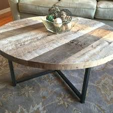 round wood coffee table hnd mde reclimed tble metl bse slab wooden with metal legs large