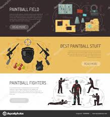 Paintball Field Designer App Paintball Horizontal Banners Stock Vector Macrovector
