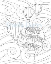 Hete Lucht Ballonnen Kleurplaat Pagina 8 X 10 Etsy