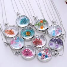 glass dried flower necklace