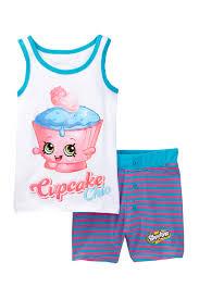 Shopkins Cupcake Chic Tank Short Tight Fit Pajama Set Little