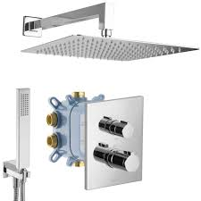 Paulgurkes Duschsystem Thermostat Regendusche Set Komplett Fertigmontage