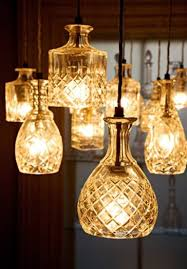 diy lighting design. crystal decanters used as pendant lighting diy design