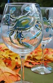 blue crab wine glass by sarah grangier