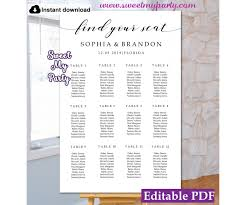 Modern Calligraphy Seating Chart Template Rustic Seating Chart Template 47