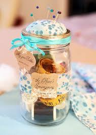 Decorating Mason Jars For Gifts DIY Mason Jar Sewing Kit Gift Favor Ideas From Evermine 94